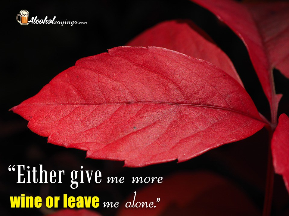 """Either give me more wine or leave me alone."""" - Alcohol ..."""